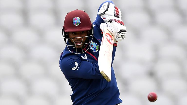 Hope scored a half-century on day one of West Indies' opening warm-up in Manchester