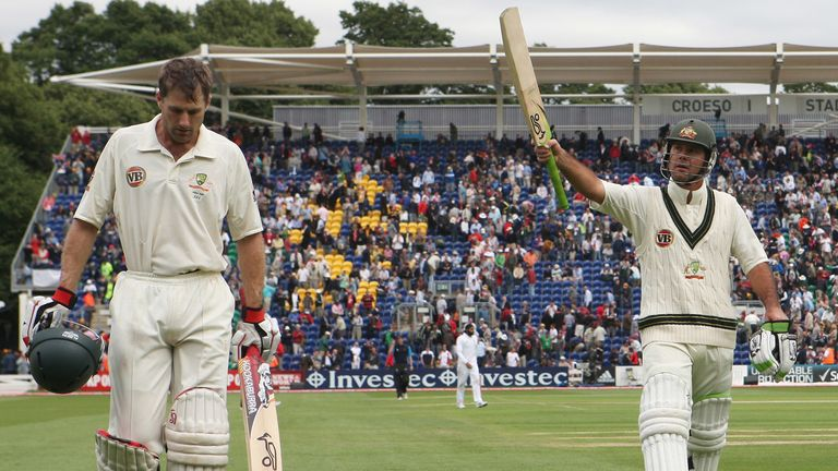 Simon Katich and Ricky Ponting walk off at the end of day two after hitting unbeaten centuries