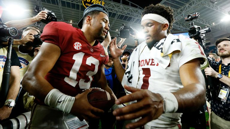 Tua Tagovailoa and Kyler Murray fought out a 45-35 shootout in the 2018 College Football Playoff Semifinal, with Tagovailoa's team coming out on top