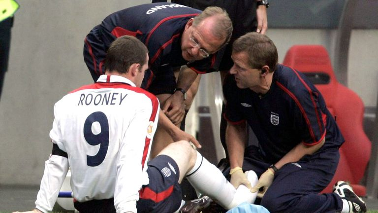 Wayne Rooney came off injured after 27 minutes against Portugal with a broken metatarsal