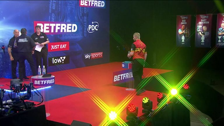 Watch the moment Dimitri Van den Bergh won the World Matchplay with victory over Gary Anderson at the Marshall Arena.