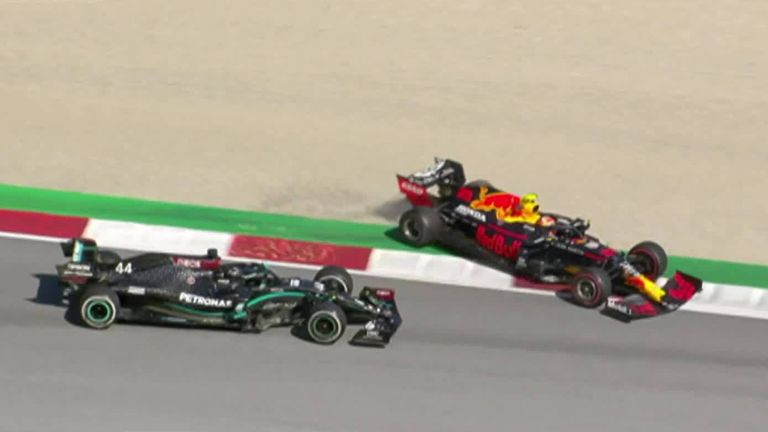 Lewis Hamilton was given a five-second penalty for this collision with Alex Albon after the restart of a dramatic Austrian GP.