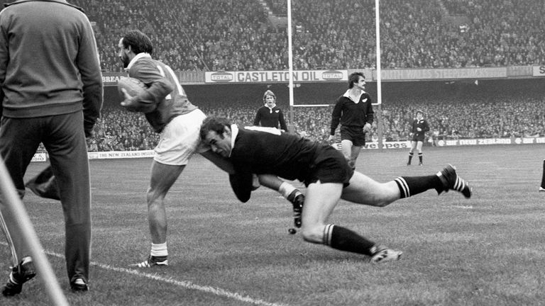 Haden tackles Clive Rees during the infamous match at Cardiff Arms Park in November 1978