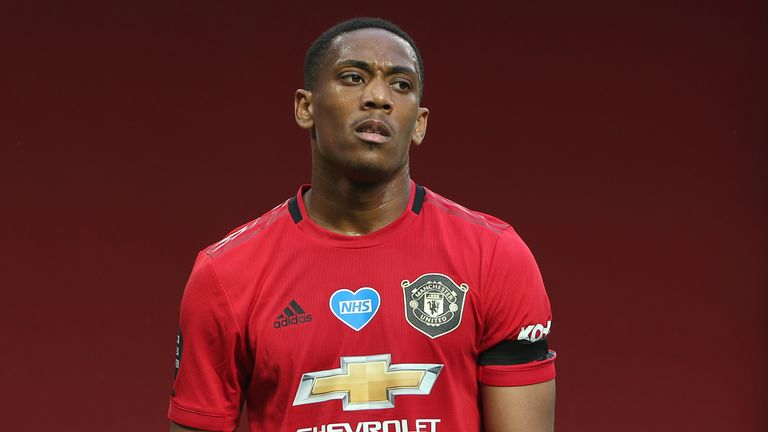 Manchester United's Anthony Martial cuts a dejected figure after the draw