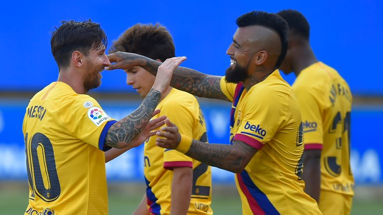 Barcelona celebrate during a 5-0 rout of Alaves