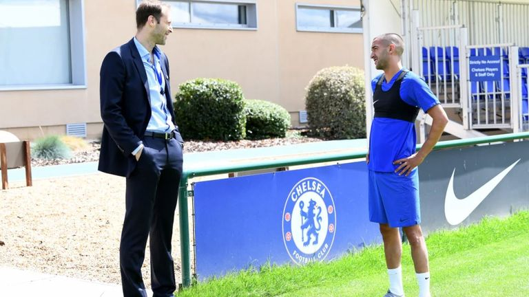 Ziyech was greeted by Petr Cech on his first day at the club. Picture credit: Chelsea FC
