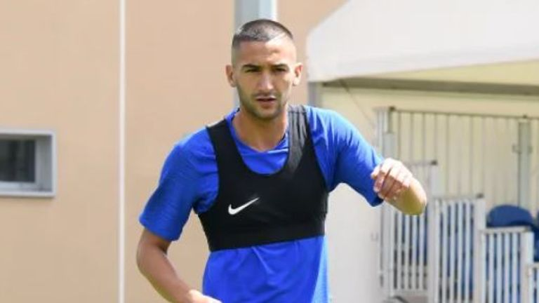 Ziyech completed a light session with his new team-mates absent. Picture credit: Chelsea FC