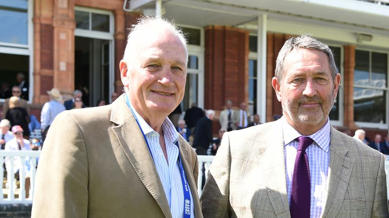 Former England captains John Emburey (L) and Graham Gooch at the 2019 Lord's Ashes Test