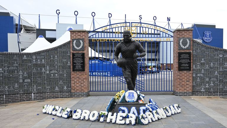 The statue is often used by Everton fans to pay tribute to loved ones