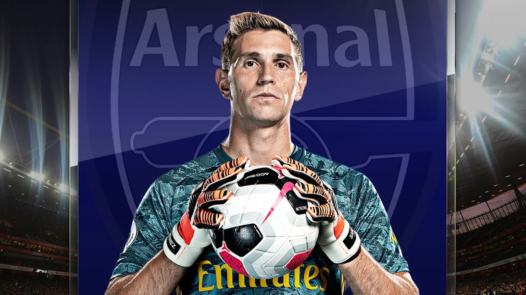 Emiliano Martinez, 27, moved to Arsenal from his native Argentina in 2010