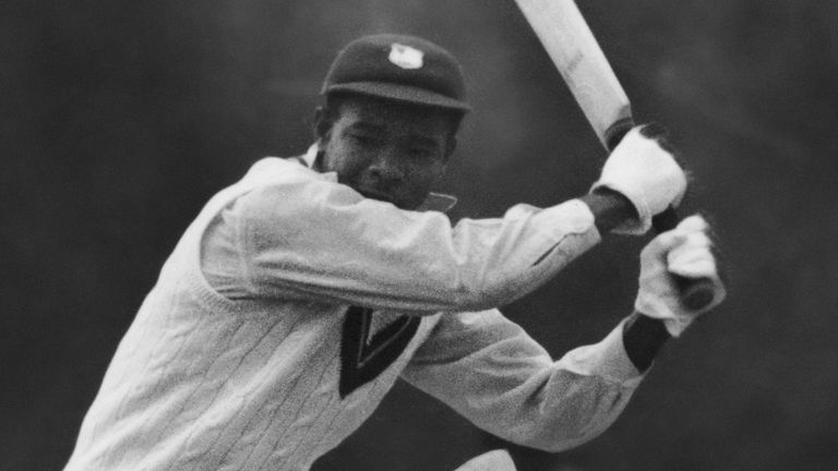 Weekes batting energetically at Kingston against a Club Cricket Conference team, April 28 1950.