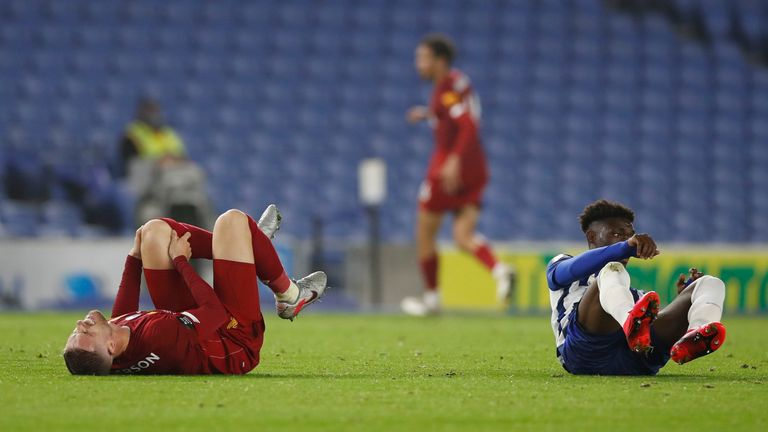 Jordan Henderson sustained a knee injury against Brighton on Wednesday