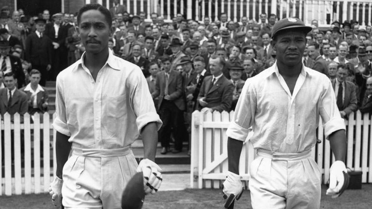 Worrell and Weekes go out to resume their record-making innings against England at Trent Bridge.