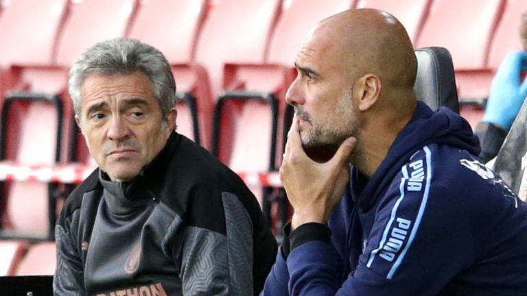 Guardiola watches on from St Mary's as his side slumped to defeat