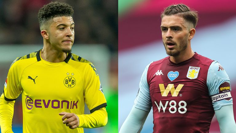 Jadon Sancho and Jack Grealish have been linked with summer moves to Manchester United