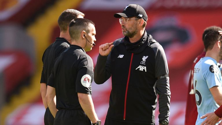 The Liverpool manager was seen protesting full-time against the officials