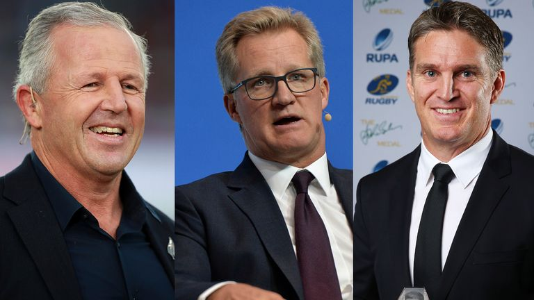 Lynagh (middle) and Horan (right) joined former All Black Sean Fitzpatrick (left) on a Sky Sports Rugby podcast special