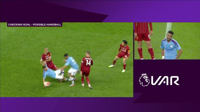 City's fifth goal against Liverpool was ruled out for Phil Foden's handball