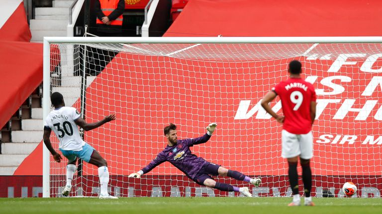 Michail Antonio slots home his 10th Premier League goal of the season