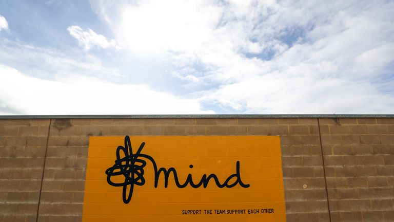 The Mind logo outside the Abbey Stadium in Cambridge