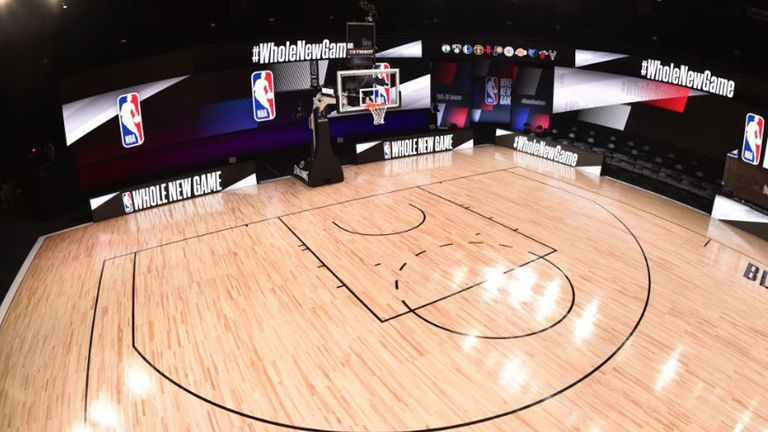 A look at one one of the three courts that is being used for games in the NBA restart as Disney World in Florida