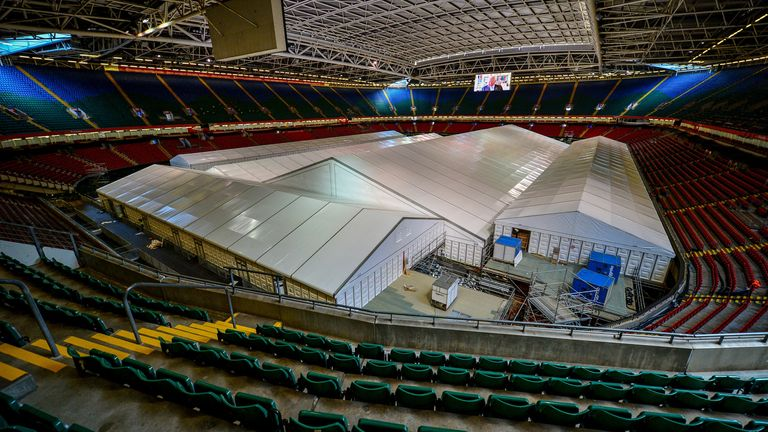 The Principality Stadium in Cardiff has been converted into the temporary Dragon's Heart Hospital