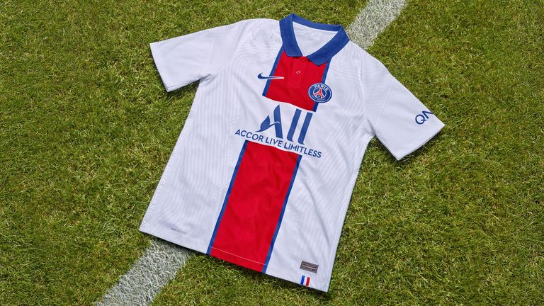 PSG's white away kit also features the 'Hechter' stripe