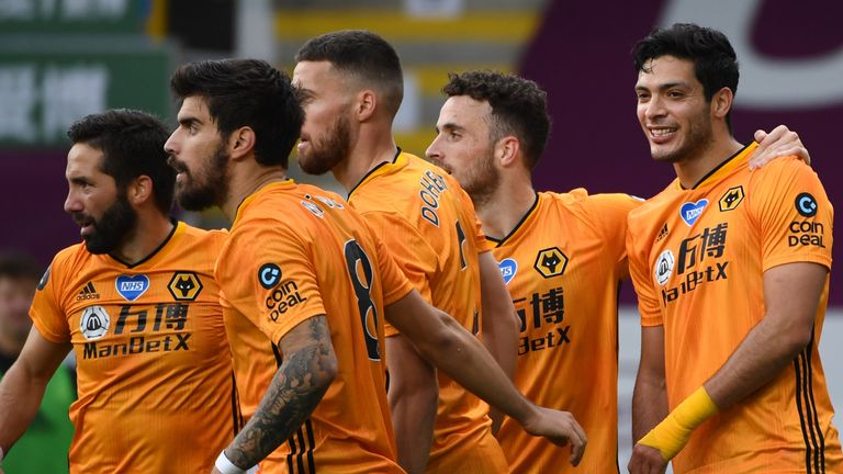 Raul Jimenez celebrates after his brilliant strike to give Wolves a second-half lead