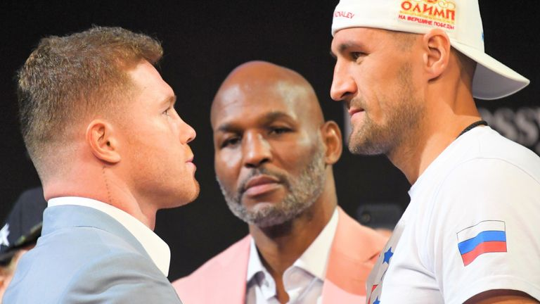 Bernard Hopkins (centre) says Canelo will receive another stern test