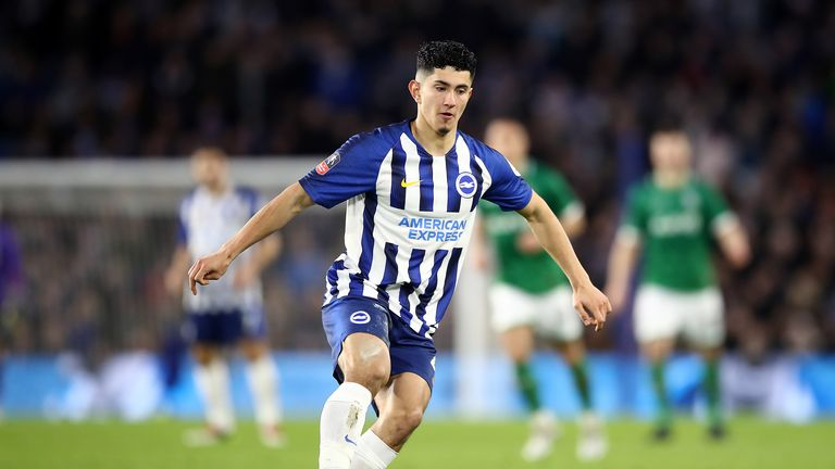 Steven Alzate in FA Cup action for Brighton in January