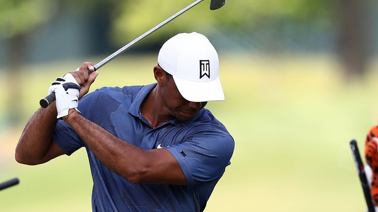 Woods made the cut on the mark at The Memorial
