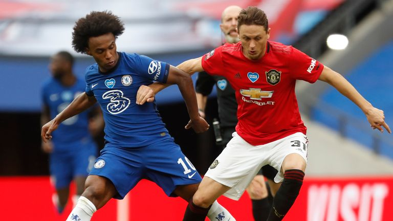 Willian and Nemanja Matic vie for possession at Wembley