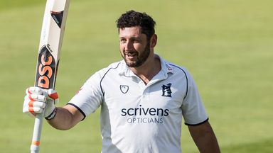 Tim Bresnan celebrates his debut century for Warwickshire against Northamptonshire
