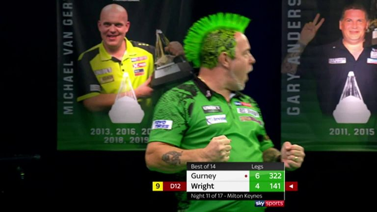 Watch Wright hit a nine-darter in his clash with Gurney on Night 11