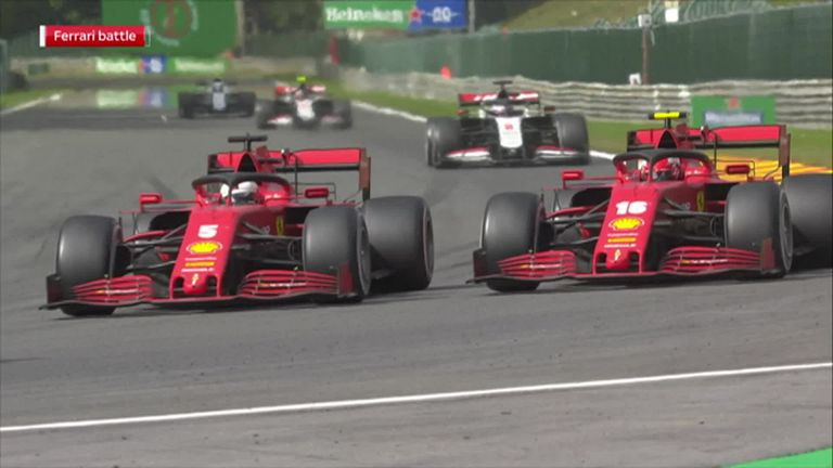 Charles Leclerc and Sebastian Vettel talk about a difficult Spa race as the Ferrari drivers fought for position out of the points