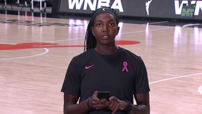 Elizabeth Williams of the Atlanta Dreams read out a statement on behalf of all WNBA players after games were postponed last month