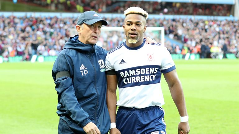 Pulis with Adama Traore at Middlesbrough - his most recent job