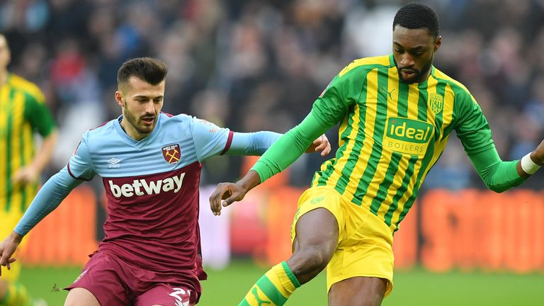 West Ham striker Albian Ajeti (L) in FA Cup action against West Brom, who he has also been linked with