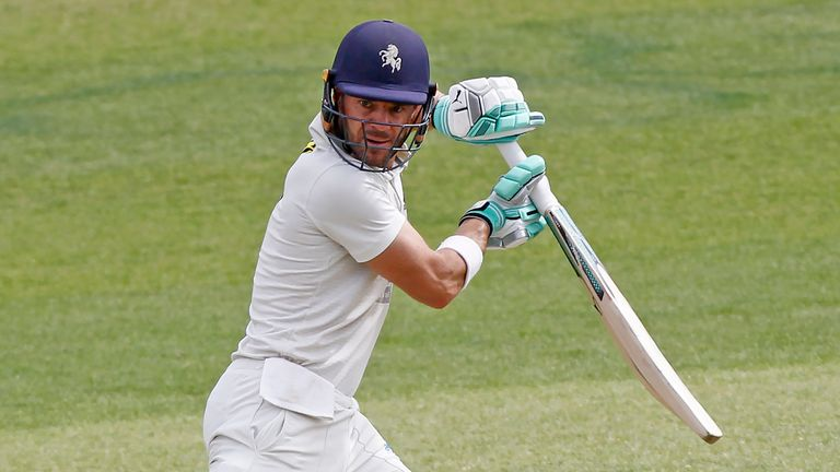 Kent's Heino Kuhn struck a ton on day one of the Bob Willis Trophy