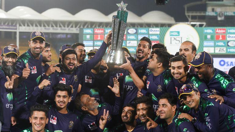 Quetta Gladiators celebrate their 2019 Pakistan Super League triumph in Karachi