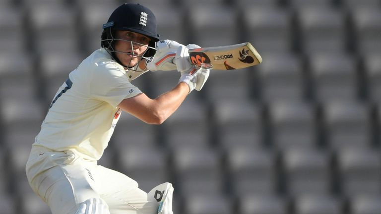 Dom Bess in action with the bat during the third Test against Pakistan last month
