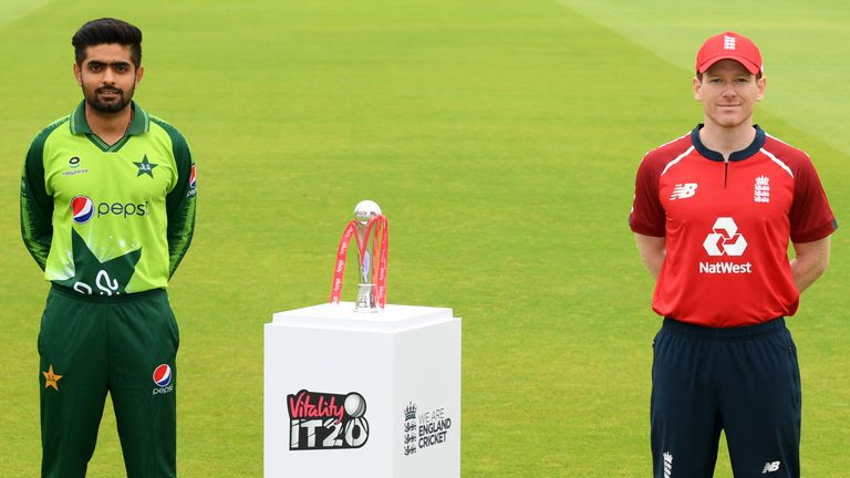 Pakistan skipper Babar Azam and England captain Eoin Morgan with the Vitality IT20 series trophy at Emirates Old Trafford
