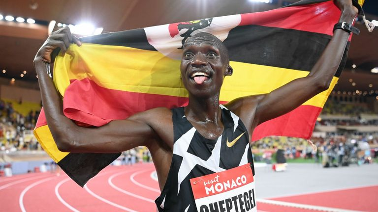Uganda's Joshua Cheptegei broke a 16-year-old world record to win the men's 5,000 metres at Monaco