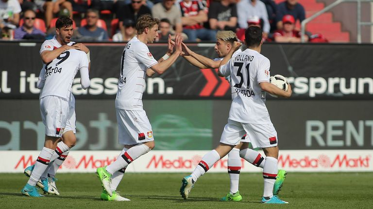 Kai Havertz is congratulated after his equaliser against Ingolstadt