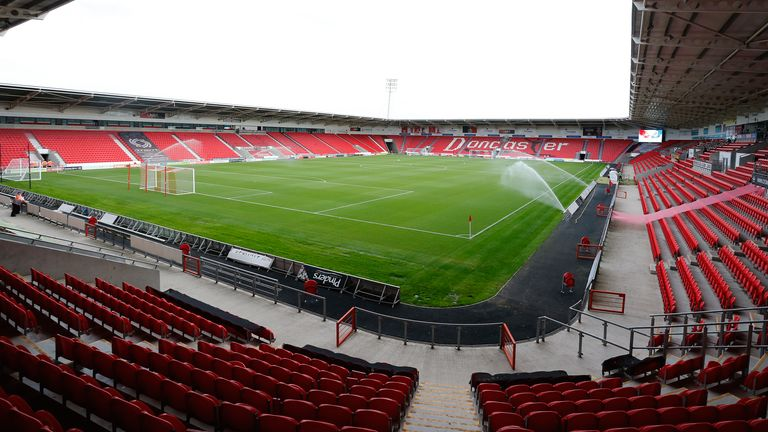 Harrogate will initially play their home games at Doncaster Rovers' Keepmoat Stadium