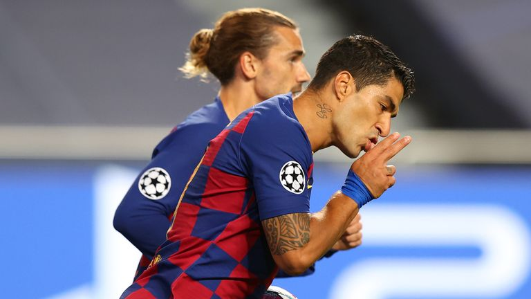 Luis Suarez celebrates his goal for Barcelona - but it was not enough to inspire a comeback