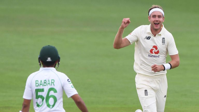 England's Stuart Broad celebrates taking the wicket of Babar Azam with a superb leg-cutter