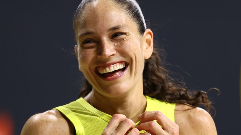 Sue Bird celebrates after a Seattle Storm victory inside the WNBA bubble