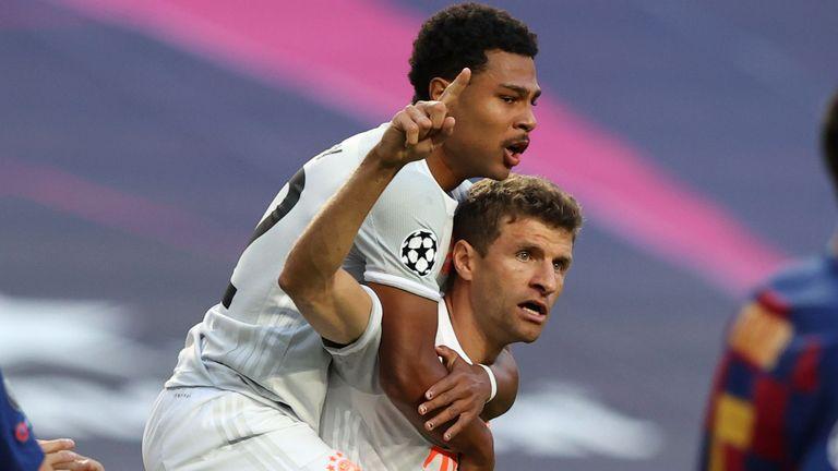 Thomas Muller celebrates scoring for Bayern Munich against Barcelona