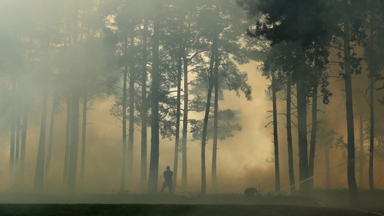 English golfer Felicity Johnson tells Sky Sports News she was 'pretty scared' about the major fire at Wentworth that broke out during her round at the Rose Ladies Grand Final